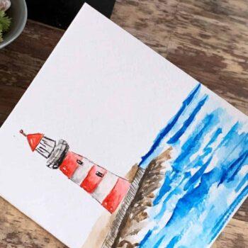 Lighthouse Hand Painted Card 12cm x 10.5cm Handmade Cards gift card