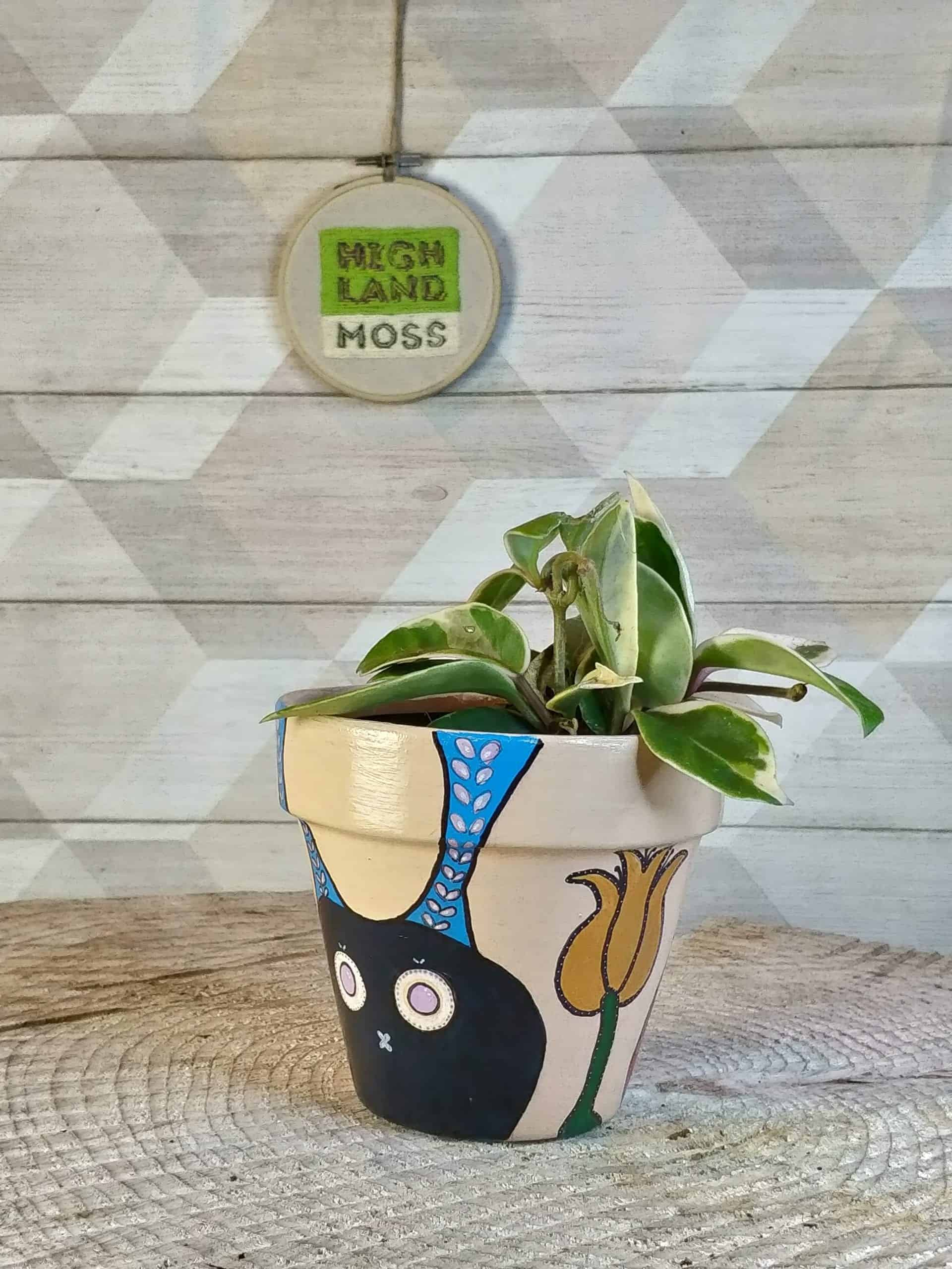 Flowers and Bunnies Hand Painted Planter for up to 11cm pots