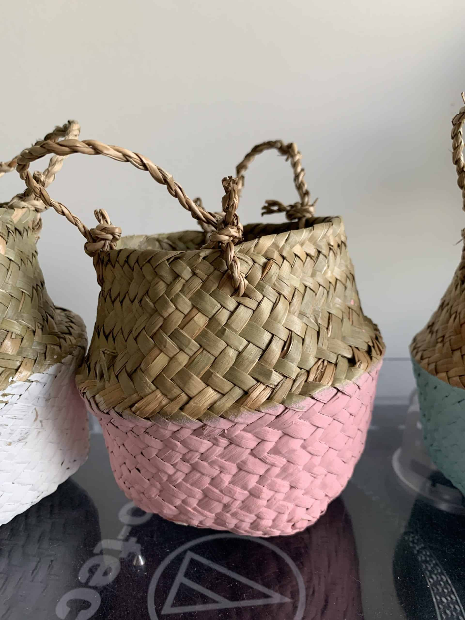 Wicker basket planter for 7-9cm pots | Available in choice of colours - Pink