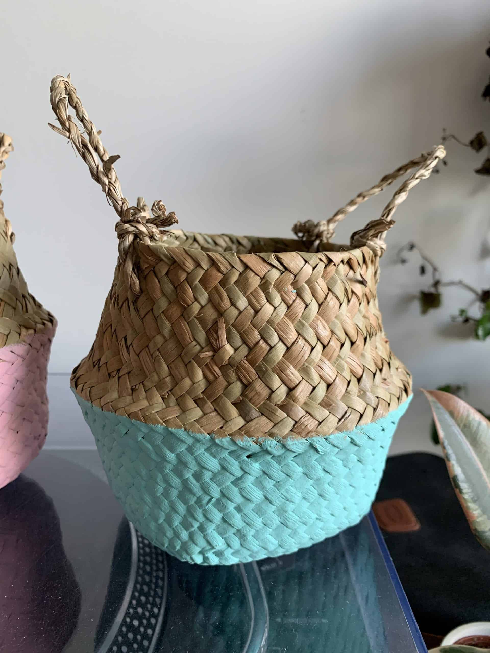 Wicker basket planter for 7-9cm pots | Available in choice of colours - Blue