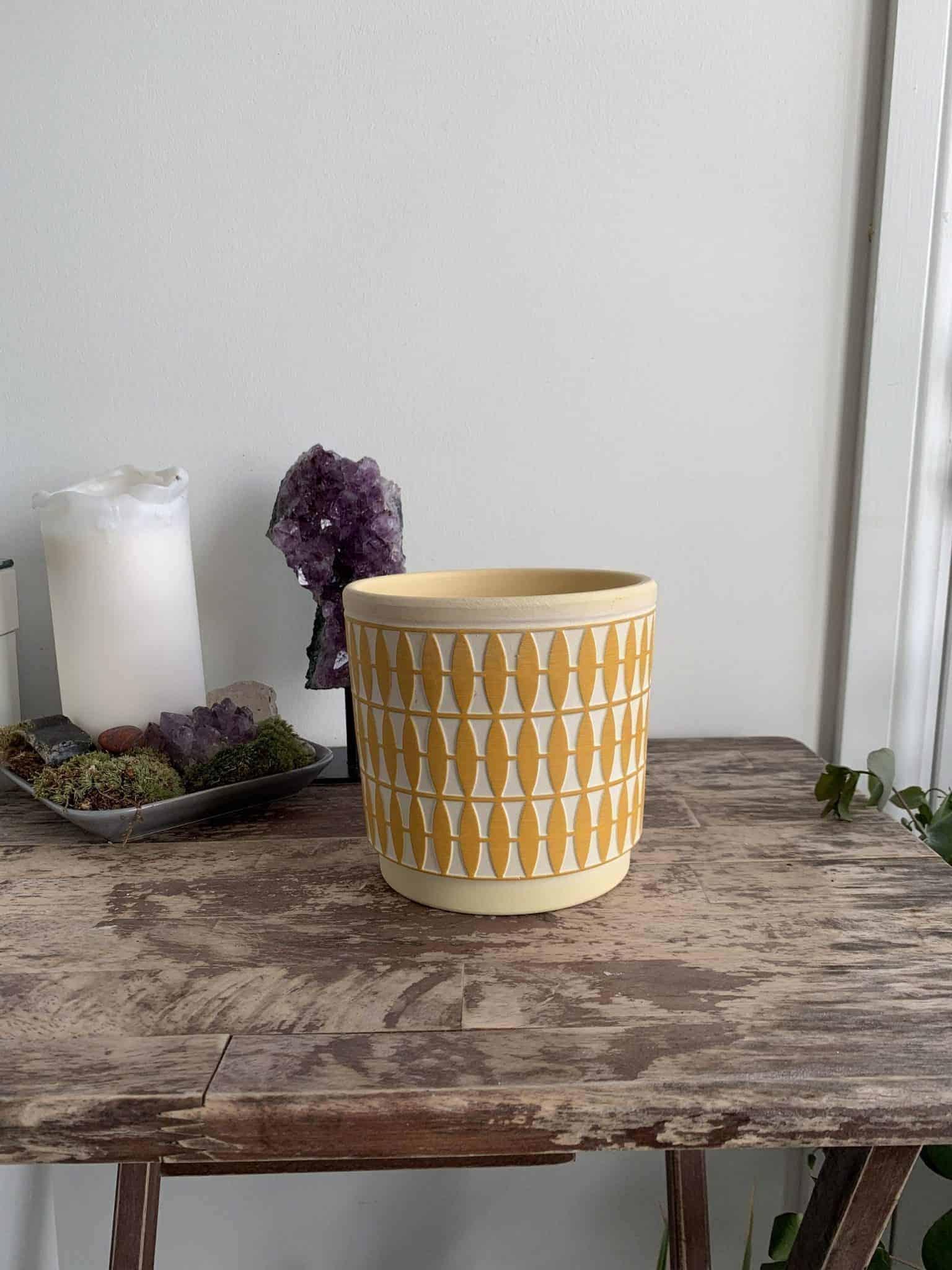 Diamond Pattern Planter for 12cm pots   Green   Grey   Mustard - Mustard