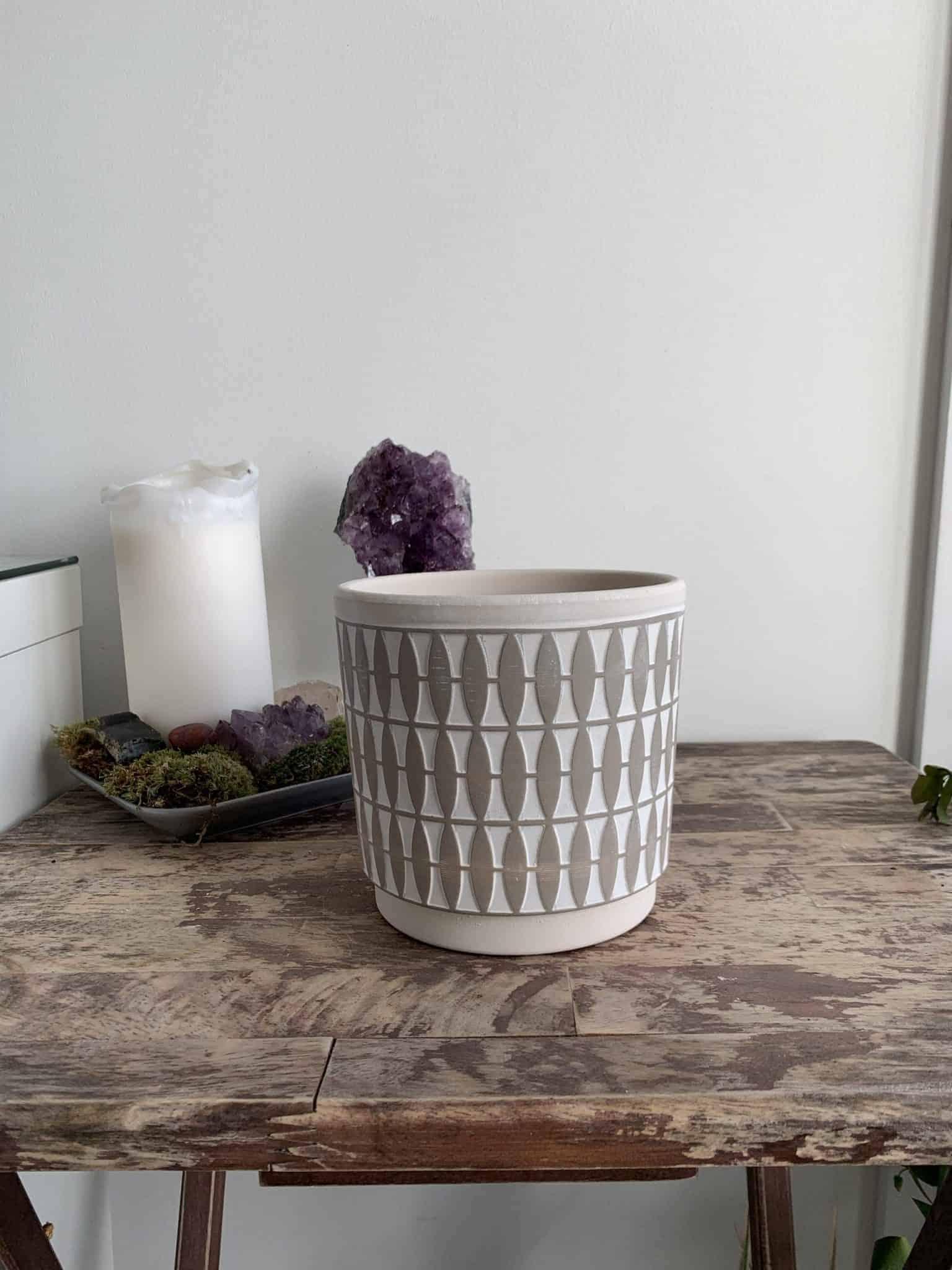 Diamond Pattern Planter for 12cm pots   Green   Grey   Mustard - Grey