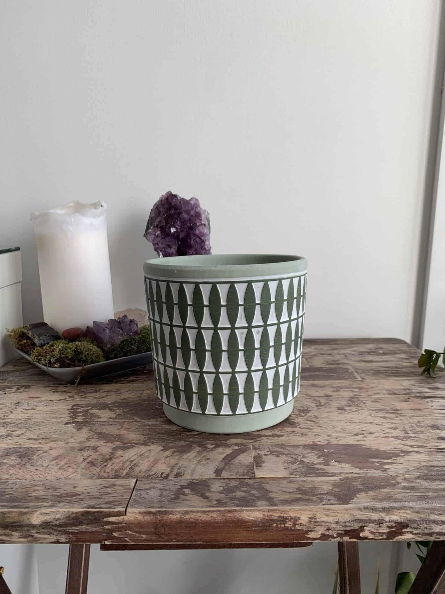 Diamond Pattern Planter for 12cm pots   Green   Grey   Mustard - Green