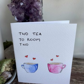 Two Tea To Room Two Painted Card 12cm x 10.5cm Handmade Cards