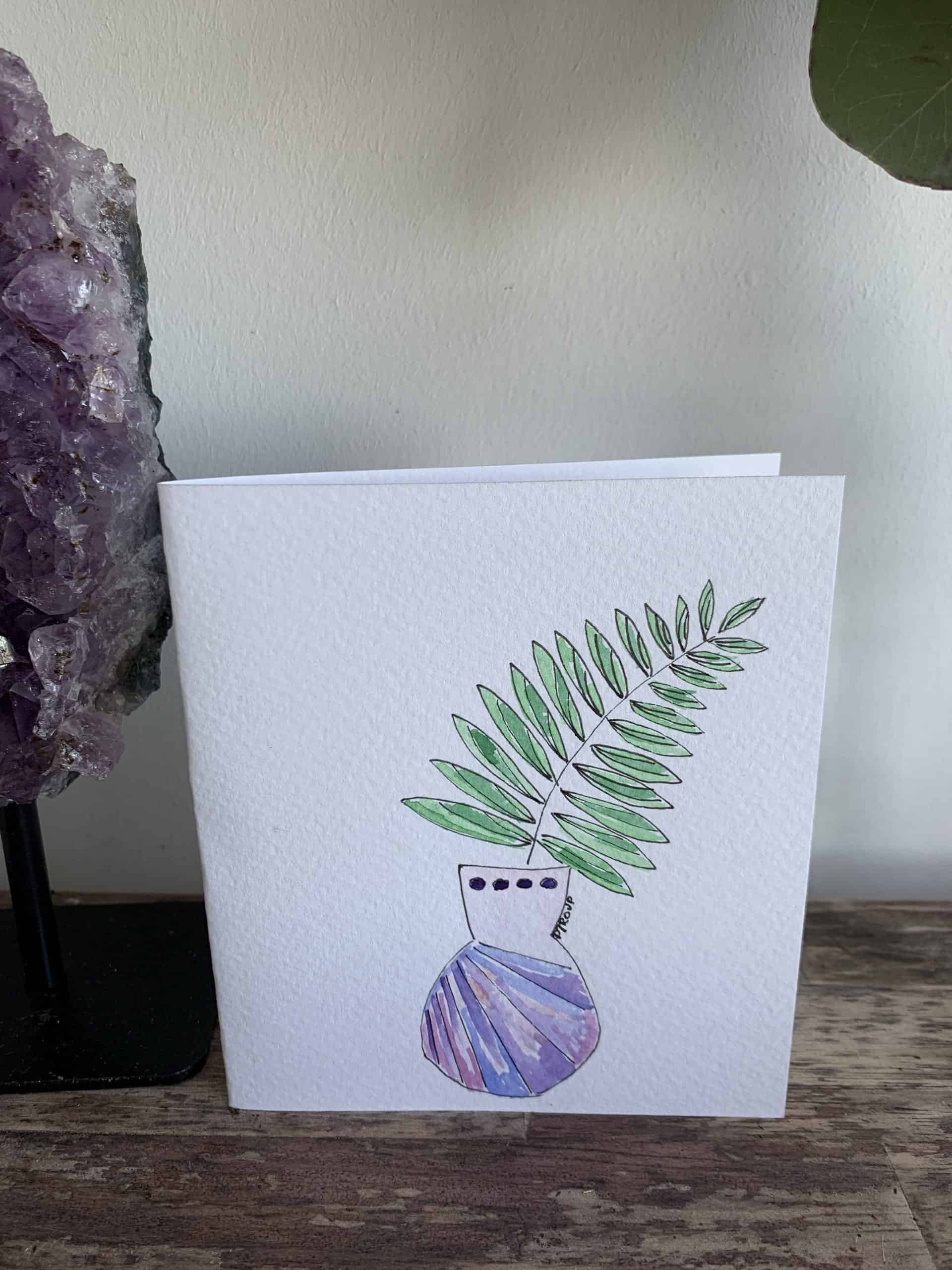 Planter Growth Hand Painted Card 12cm x 10.5cm