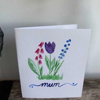 For Mum Painted Card 12cm x 10.5cm Handmade Cards