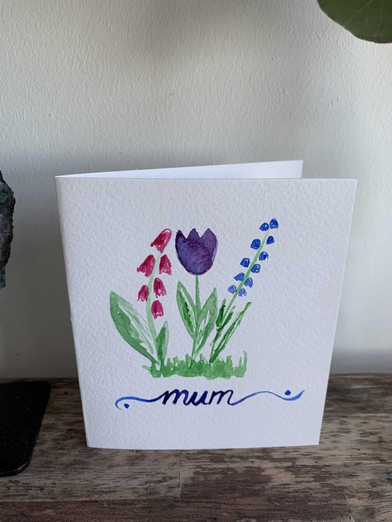 For Mum Painted Card 12cm x 10.5cm