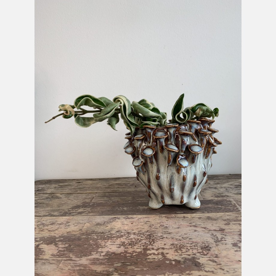 White and Blue 'toadstool' Planter for up to 8cm pots