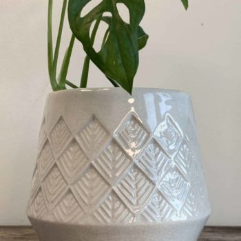 Bohemian white pattern planter for pots up to 8.5cm Planters