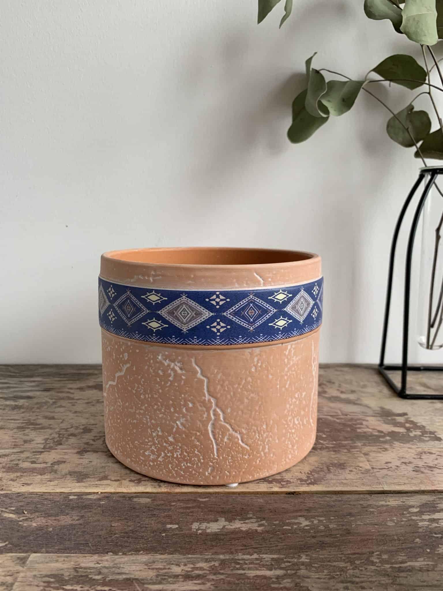 Terra Cylinder Planter for up to 12cm Pots - Blue Pattern