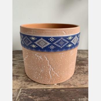 Terra Cylinder Planter for up to 9cm Pots – Blue Pattern Planters 9cm planter