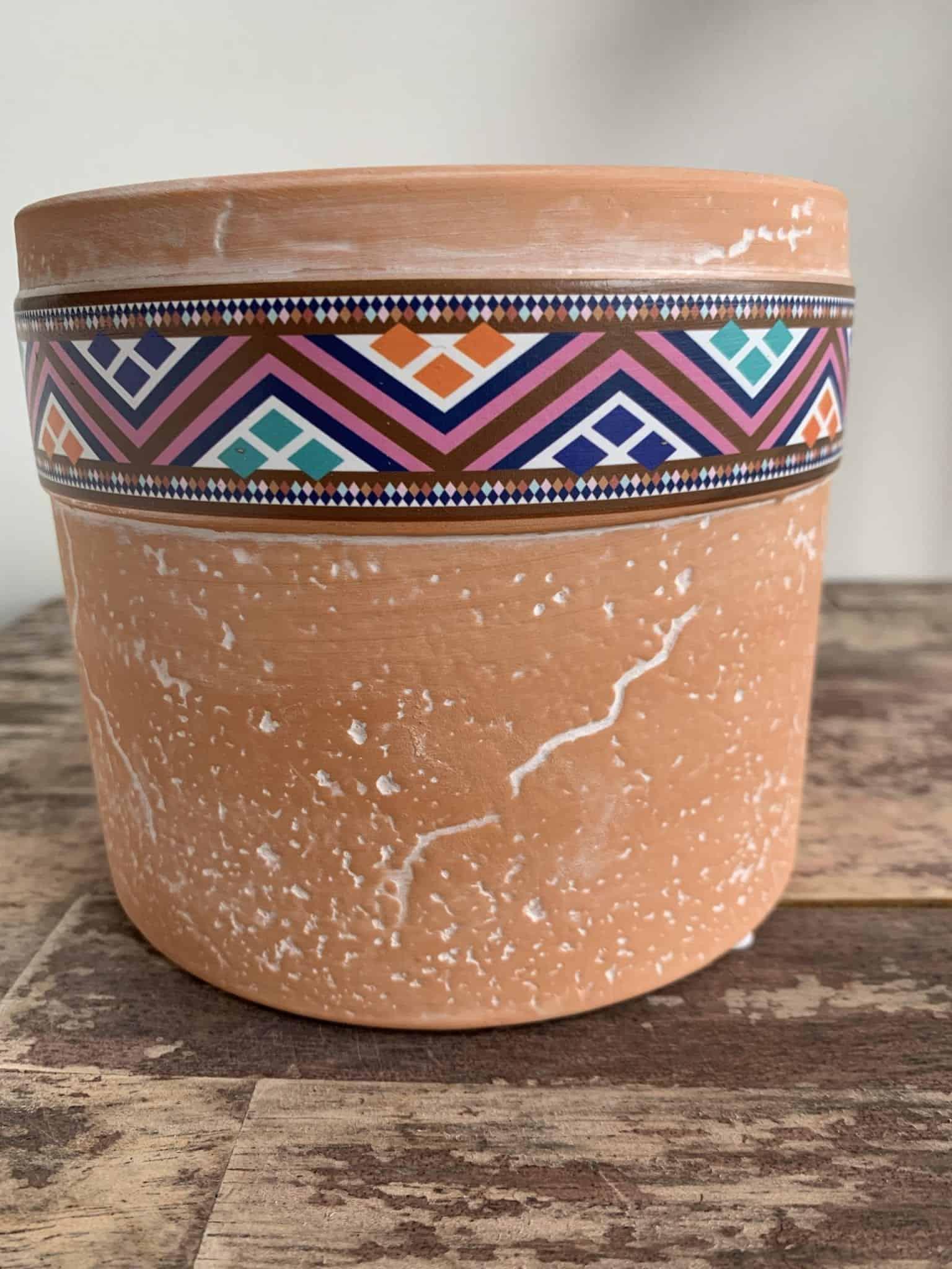 Terra Cylinder Planter for up to 12cm Pots - Zig Zag