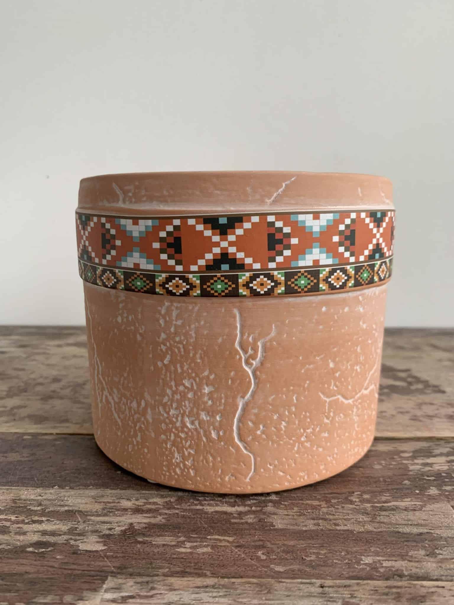 Terra Cylinder Planter for up to 9cm Pots - Pixel Orange Pattern