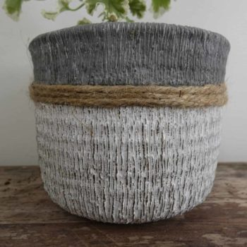 Grey, White and Jute planter for up to 9cm pots Plant Accessories 9cm planter