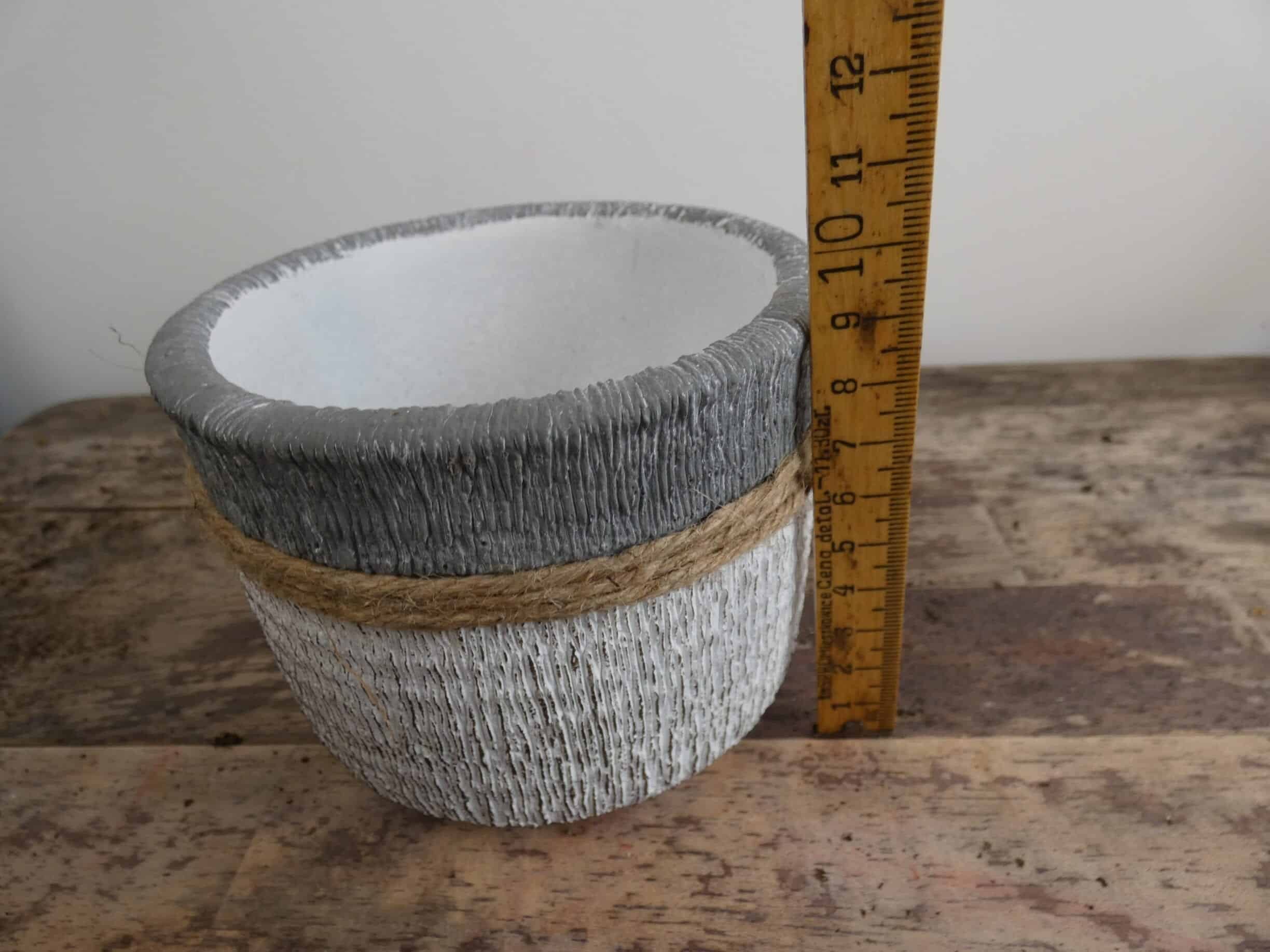 Grey, White and Jute planter for up to 9cm pots
