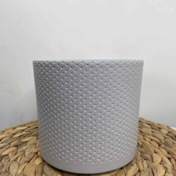 Grey planter with subtle dot design for up to 12cm pots Plant Accessories 12cm planter 2
