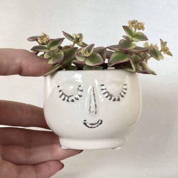 White Pot Head Planter for 6cm pots Planters